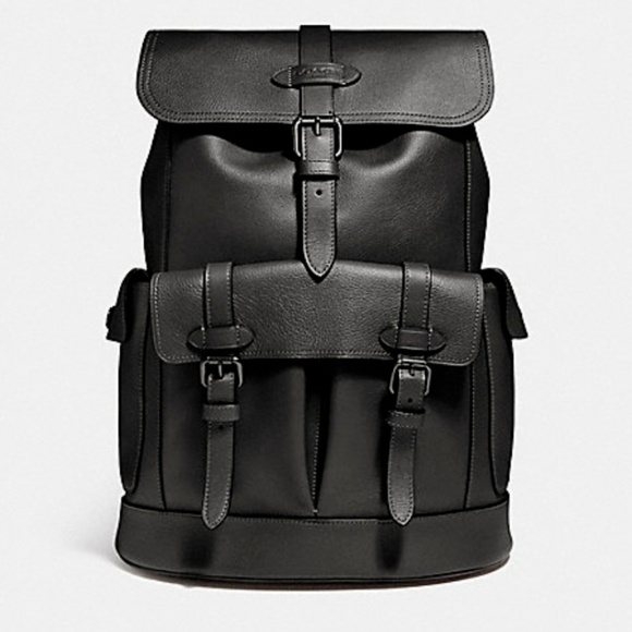 7d6092078f16 COACH Men Buckle Large Rucksack Leather Backpack
